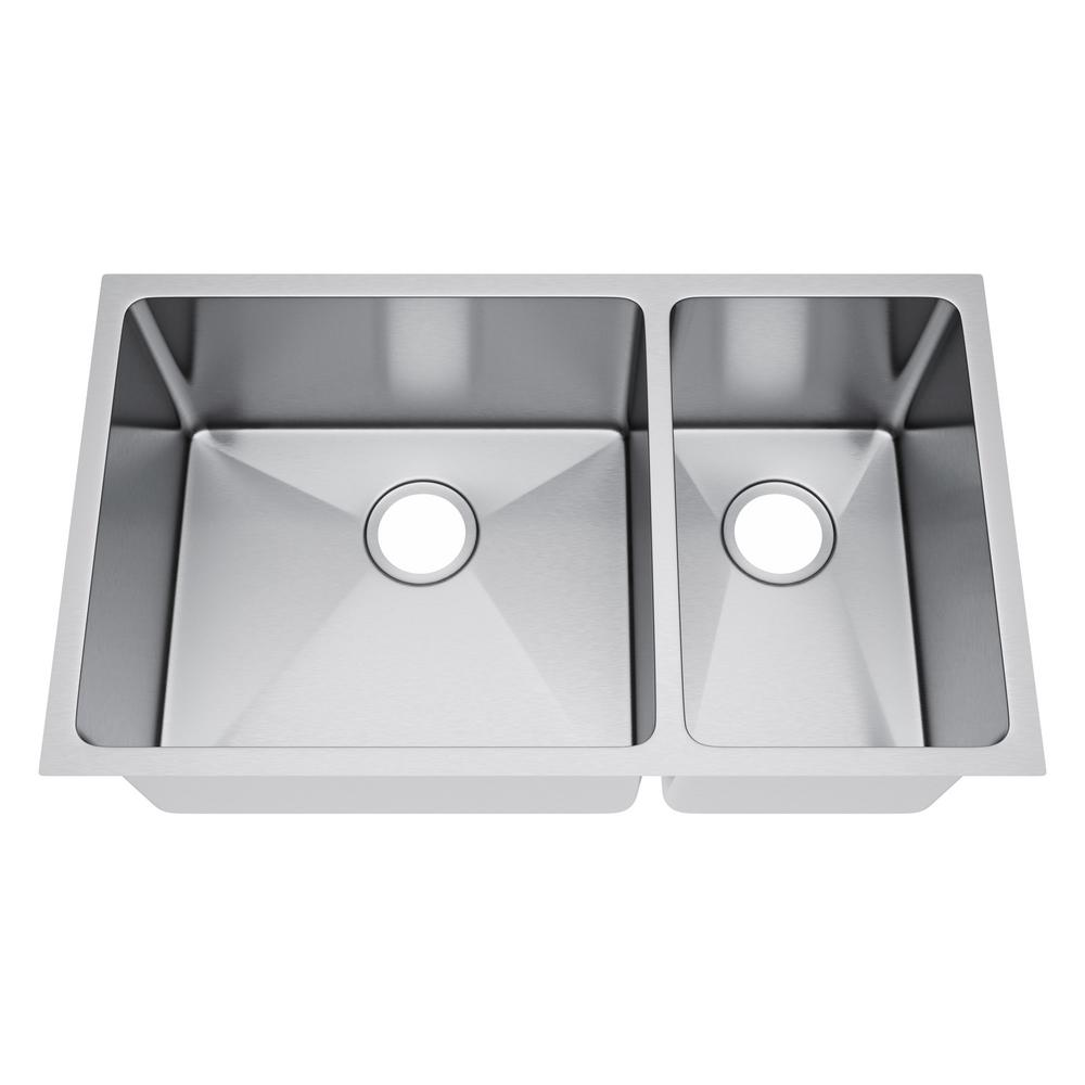 All-in-One Undermount Stainless Steel 31 in. 70/30 Double Bowl Kitchen Sink