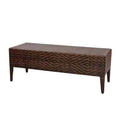 46 in. Multi-Brown Wicker Outdoor Bench
