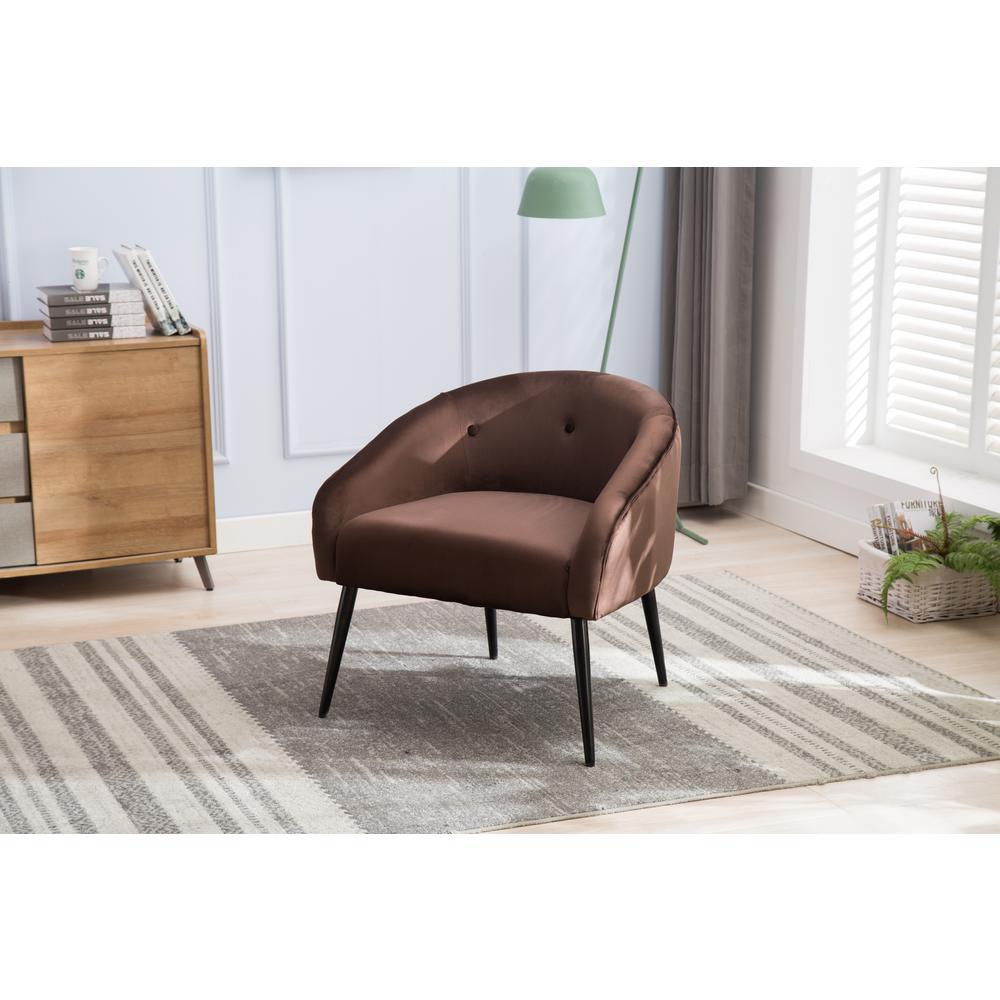Brown Stylish Upholstered Velvet Super Soft Accent Chair