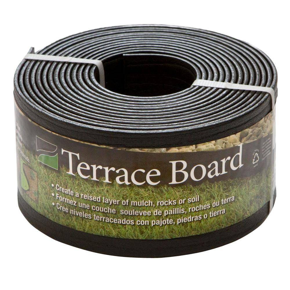 Terrace Board 4 in. x 20 ft. Black Plastic Landscape Lawn