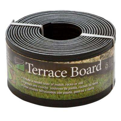 Terrace Board 4 in. x 20 ft. Black Plastic Landscape Lawn Edging with Stakes