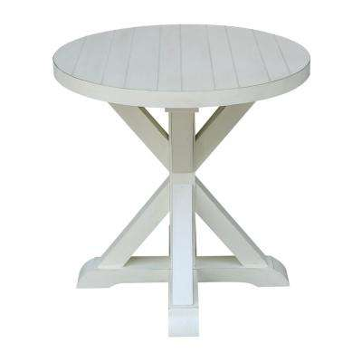 Modern Farmhouse Distressed White Round End Table