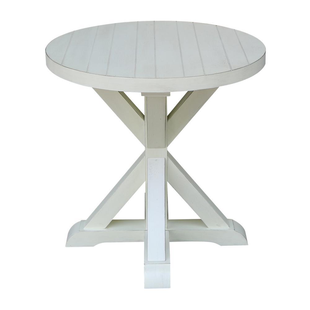 Modern Farmhouse Distressed White Round End Table
