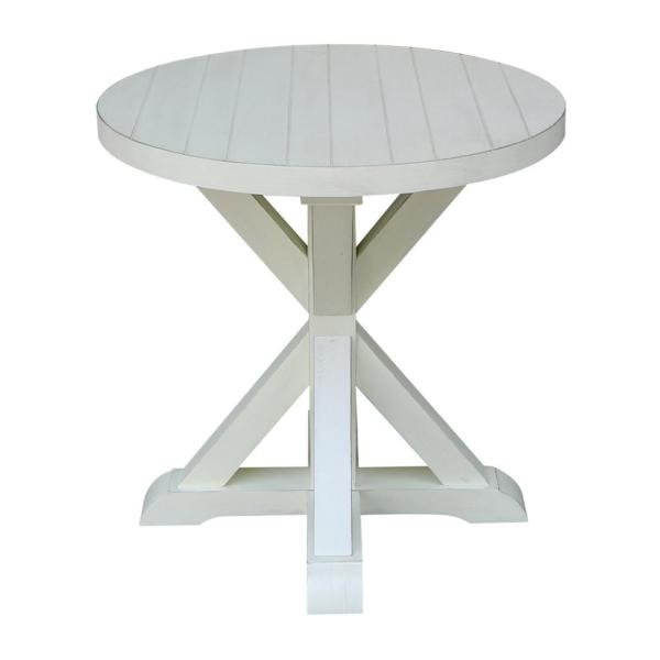 International Concepts Modern Farmhouse Distressed White Round End Table