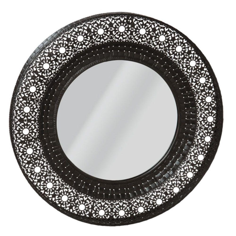 Filament Design Sundry 19.5 in. x 19.25 in. Black Ornate Framed Wall Mirror-DISCONTINUED