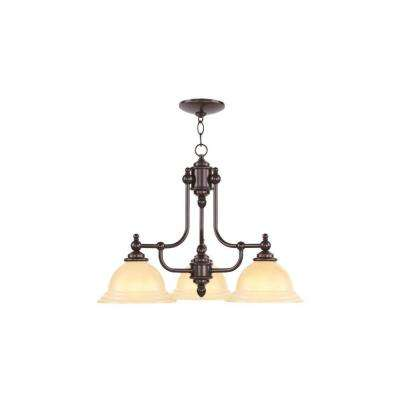Livex Lighting 3-Light Olde Bronze Chandelier with Iced Champagne Glass Shade by Champagne Glasses