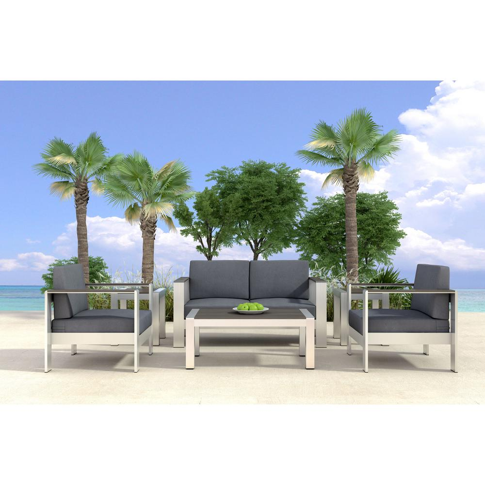 ZUO Cosmopolitan Brushed Aluminum Patio Coffee Table