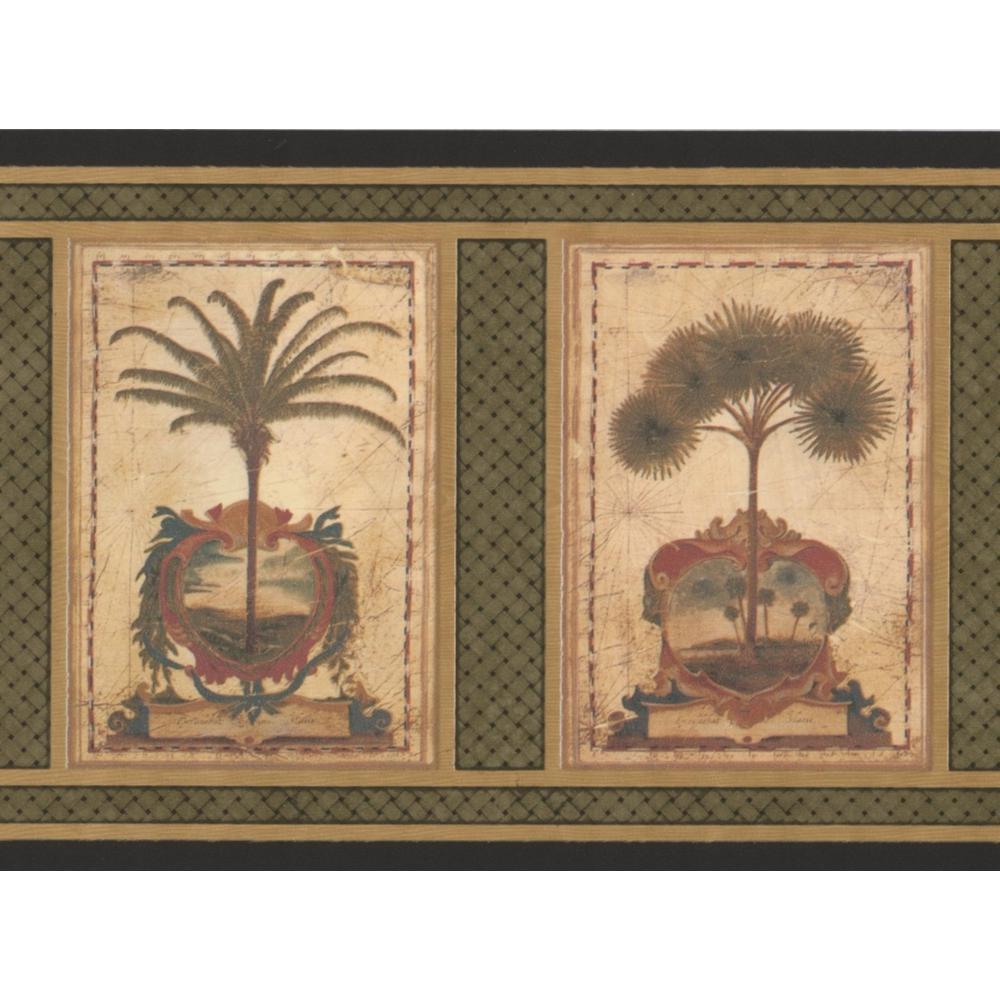 Retro Art Vintage Squares Palm Trees Sage Green Prepasted Wallpaper Border