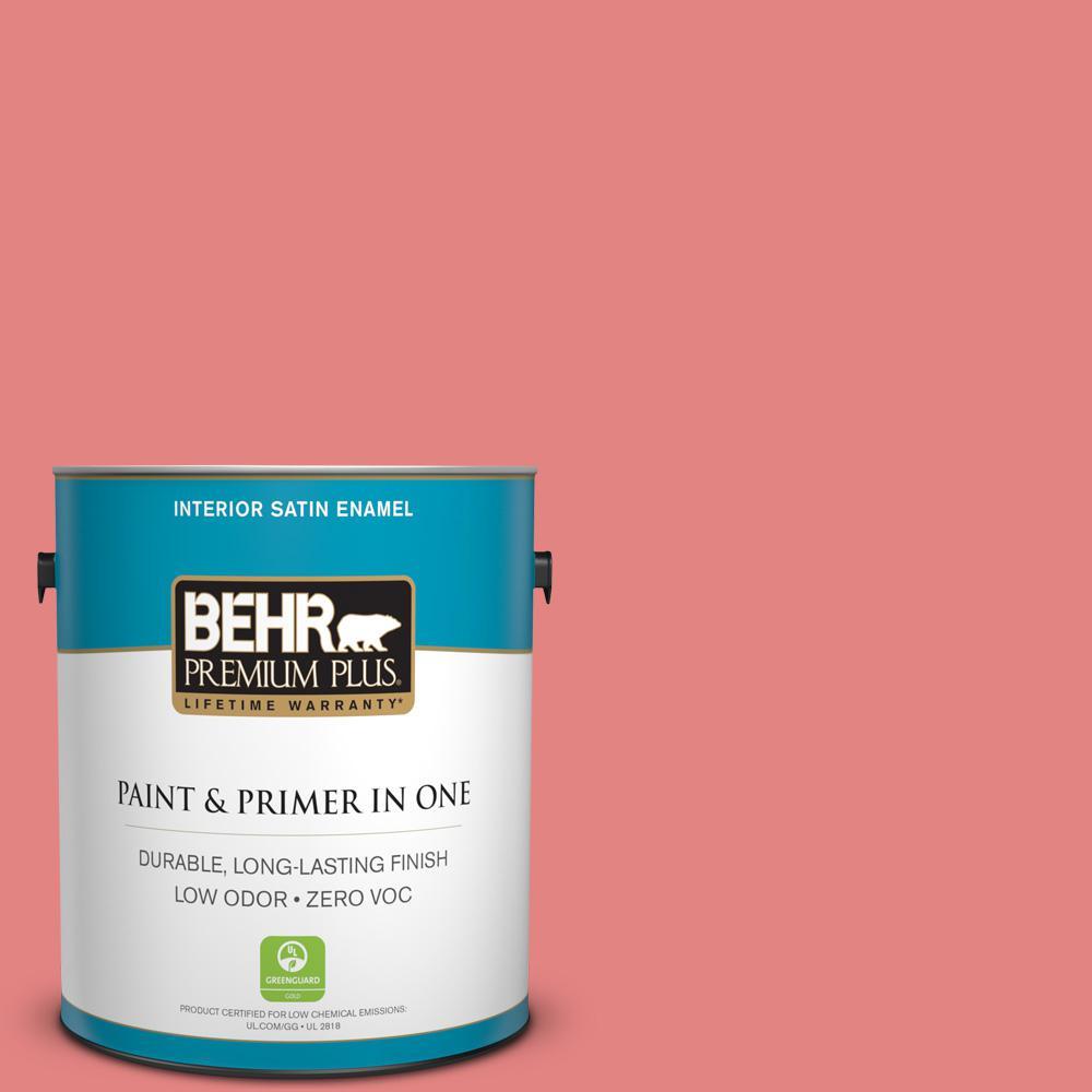 BEHR Premium Plus 1-gal. #160B-5 Candy Mix Zero VOC Satin Enamel Interior Paint