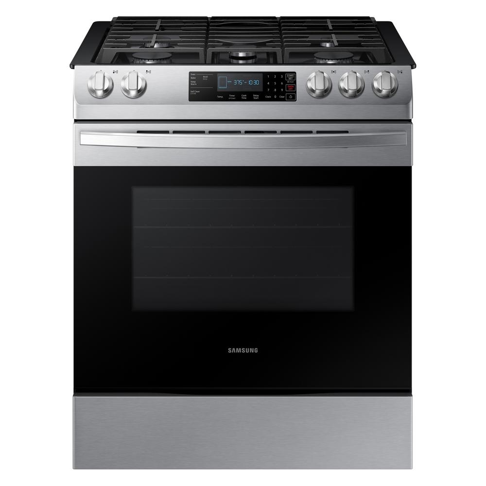 Samsung 30 In 5 8 Cu Ft Slide Gas Range With Self Cleaning