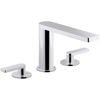 Composed 8 in. Widespread 2-Handle Lever Handle Bathroom Faucet with Drain in Polished Chrome