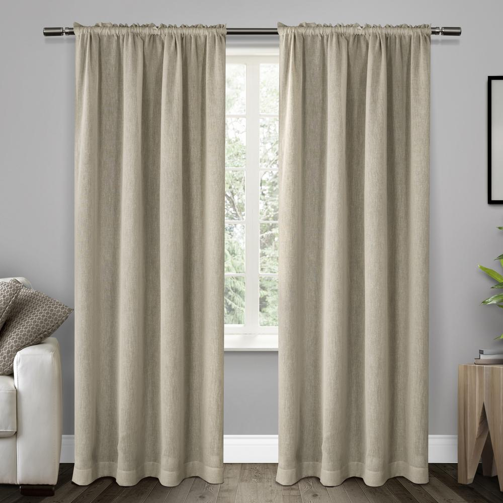 Belgian Stone Textured Linen Look Jacquard Sheer Rod Pocket Top Window Curtain