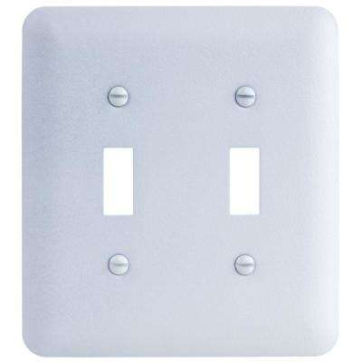 2-Gang Toggle Maxi Metal Wall Plate, White Textured