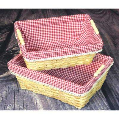 Vintiquewise 13.8 in. x 9.8 in. x 5.5 in. and 12.3 in. x 8 in. x 5 in. Wood Gingham Lined Baskets Set of 2