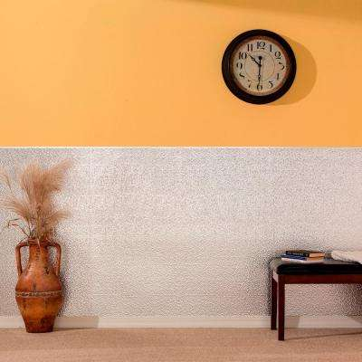 96 in. x 48 in. Hammered Decorative Wall Panel in Matte White