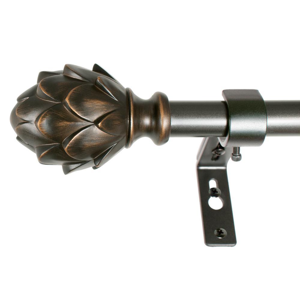 Rustic Artichoke 36 in. - 72 in. Telescoping 3/4 in. Curtain Rod in Vintage Bronze