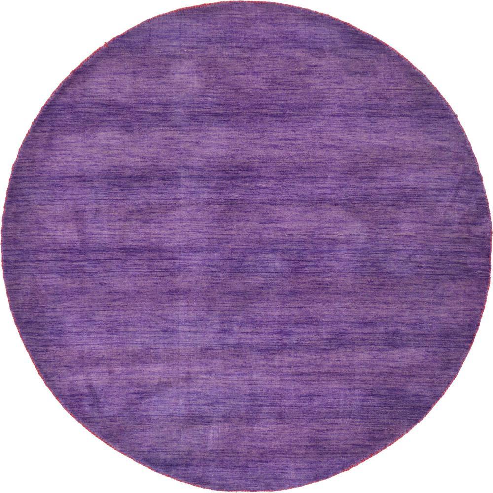 "Purple Circle Rugs: Unique Loom Solid Gava Purple 6'7"" X 6'7"" Round Rug"