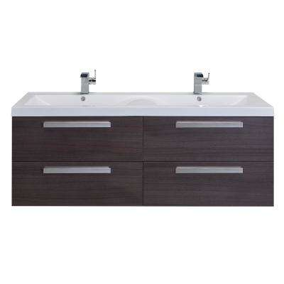 Surf 57 in. W x 19 in. D x 24 in. H Vanity in Gray Oak with Acrylic Top in White with White Basin