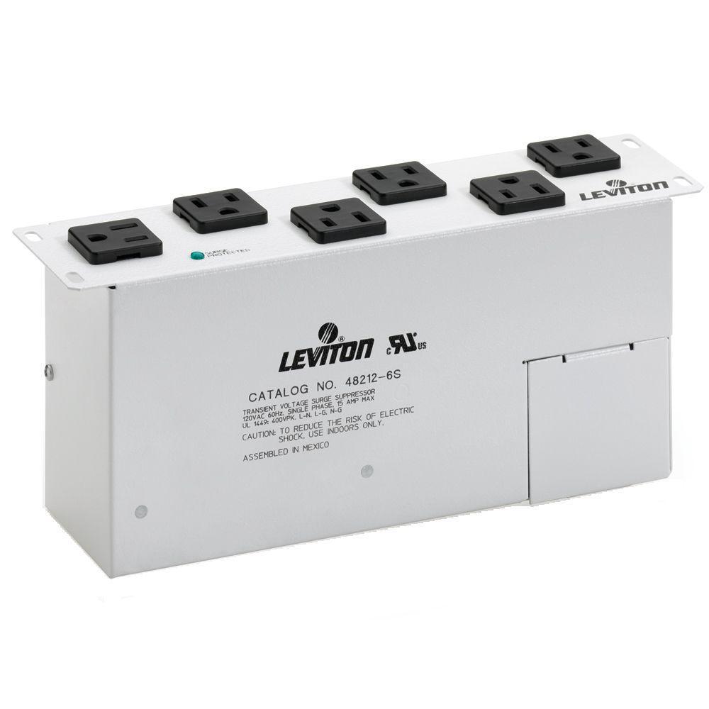 Leviton Structured Media 15 Amp AC Power Surge Module 6 NEMA Outlet ...