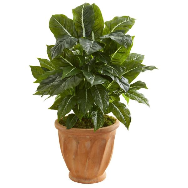 Nearly Natural Indoor 30 in. Evergreen Artificial Plant in Terracotta Planter