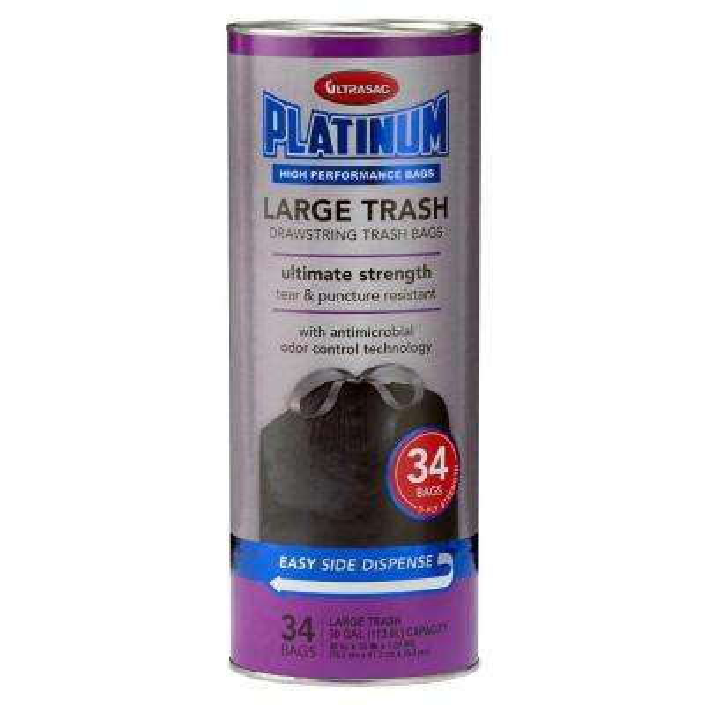 30 Gal. Large Antimicrobial Odor Control Black Drawstring Trash Bags (34-Count)