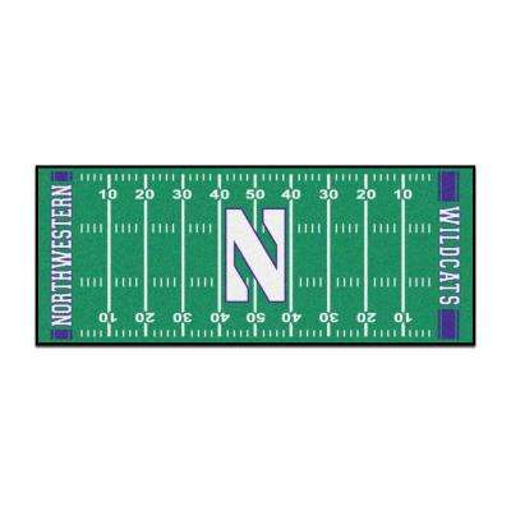 NCAA - Northwestern University Green 3 ft. x 6 ft. Indoor Football Field Runner Rug