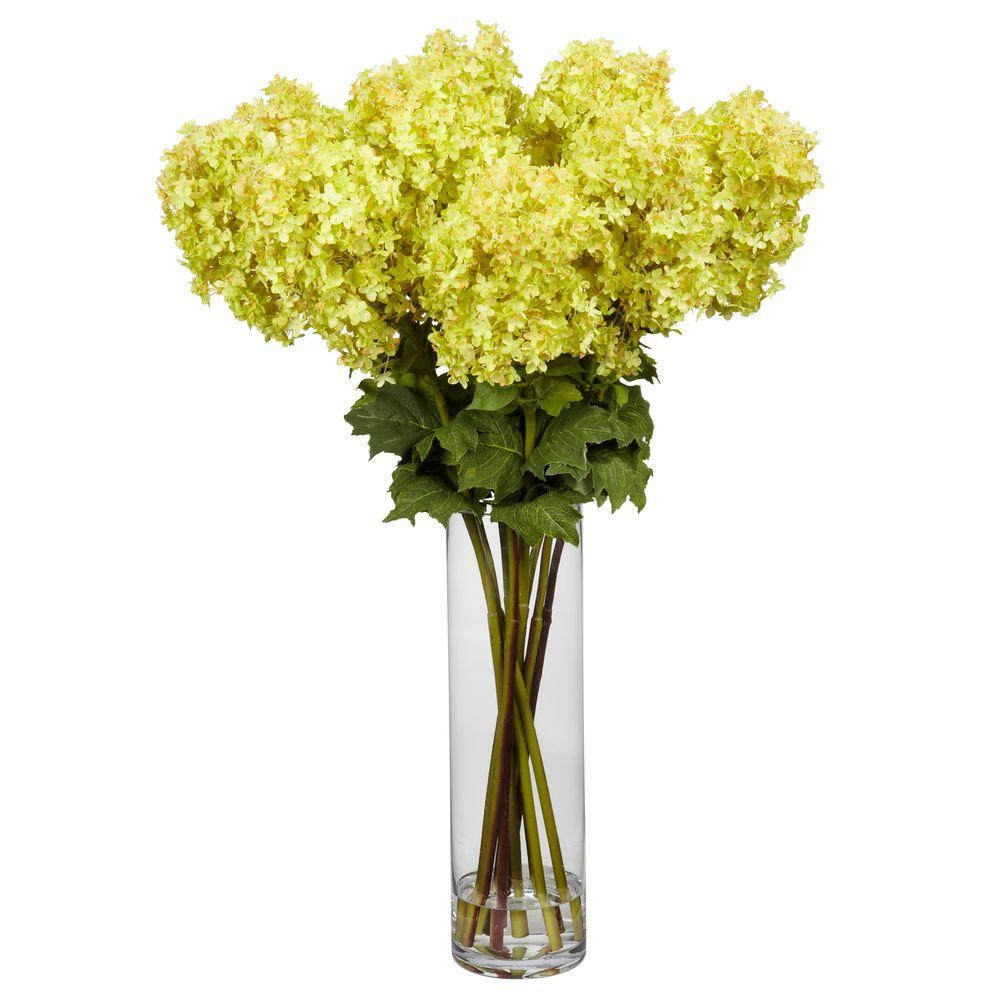 H Yellow Giant Hydrangea Silk Flower Arrangement