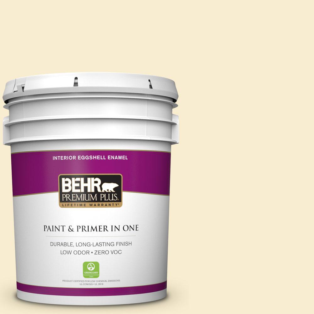 BEHR Premium Plus 5-gal. #300A-1 Opal Cream Zero VOC Eggshell Enamel Interior Paint