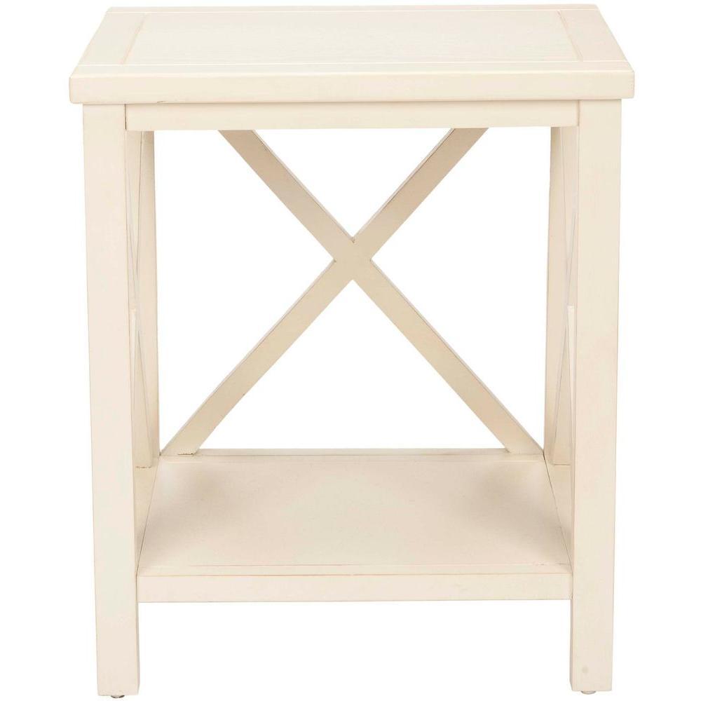 Safavieh sahara off white storage end table amh6523a the for White end table with storage