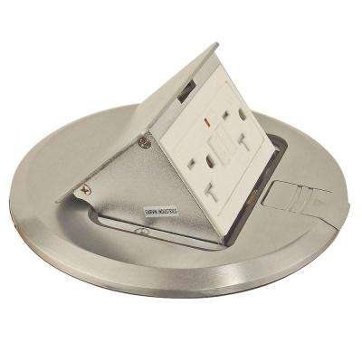 6 in. Brushed Stainless Finish Pop-Up Floor Box Kit with 20 Amp GFI and Tamper-Weather Resistant Receptacle