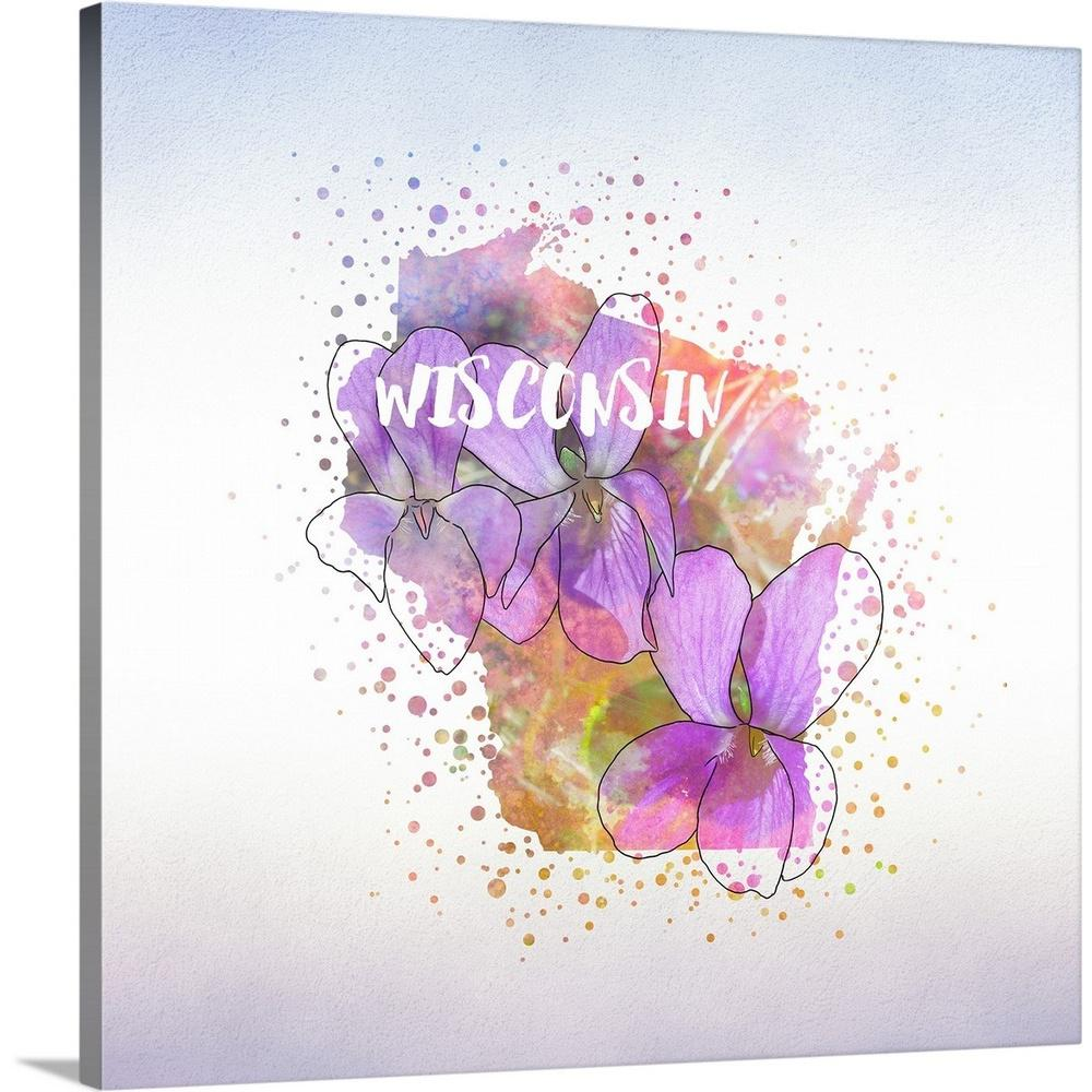 """GreatBigCanvas """"Wisconsin State Flower (Wood Violet)"""" by Inner Circle Canvas Wall Art-2419377_24_24x24 - The Home Depot"""