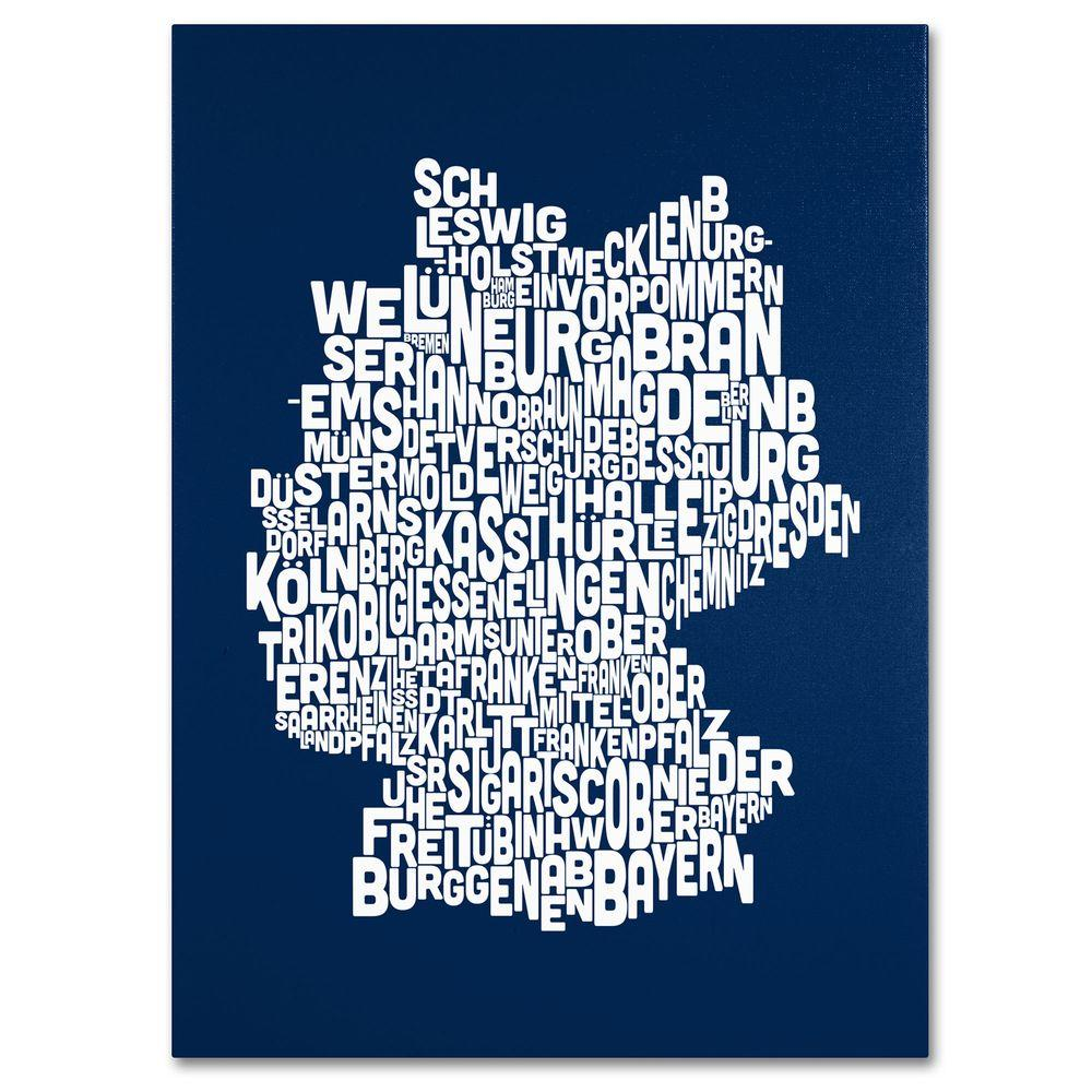 14 in. x 19 in. Germany Regions Map - Navy Canvas