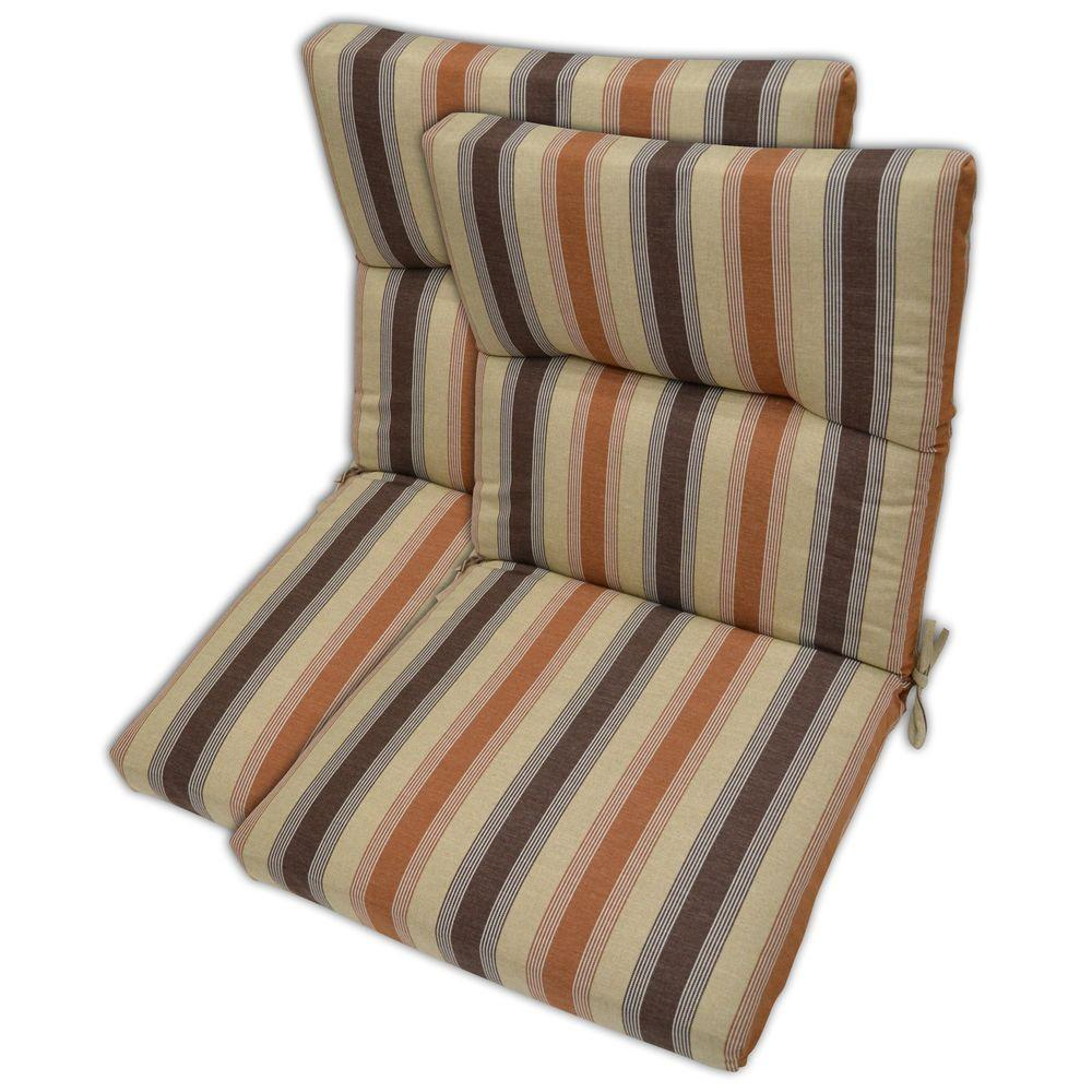 Plantation Patterns Nutmeg Stripe High Back Outdoor Chair Cushion (2-Pack)-DISCONTINUED