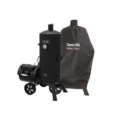 Signature Series Heavy-Duty Vertical Offset Charcoal Smoker and Grill in Black with Cover