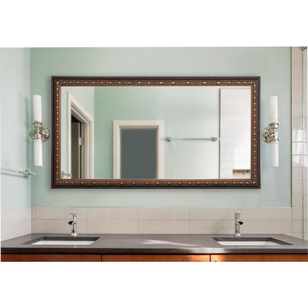 34 in. W x 67 in. H Framed Rectangular Bathroom Vanity Mirror in Bronze