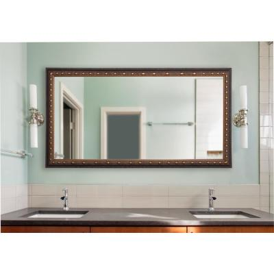 34 in. W x 73 in. H Framed Rectangular Bathroom Vanity Mirror in Bronze