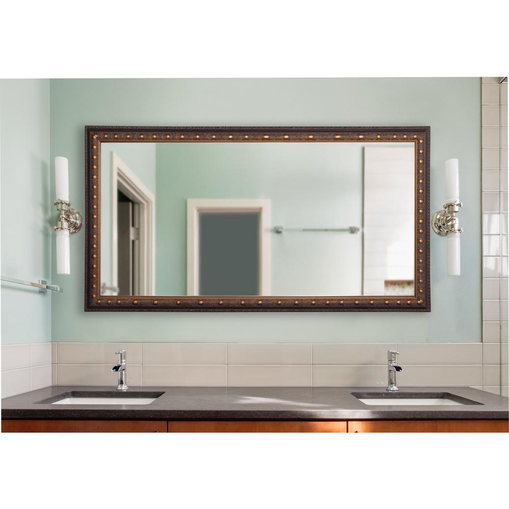 34 in. W x 73 in. H Framed Rectangular Bathroom Vanity Mirror in Bronze