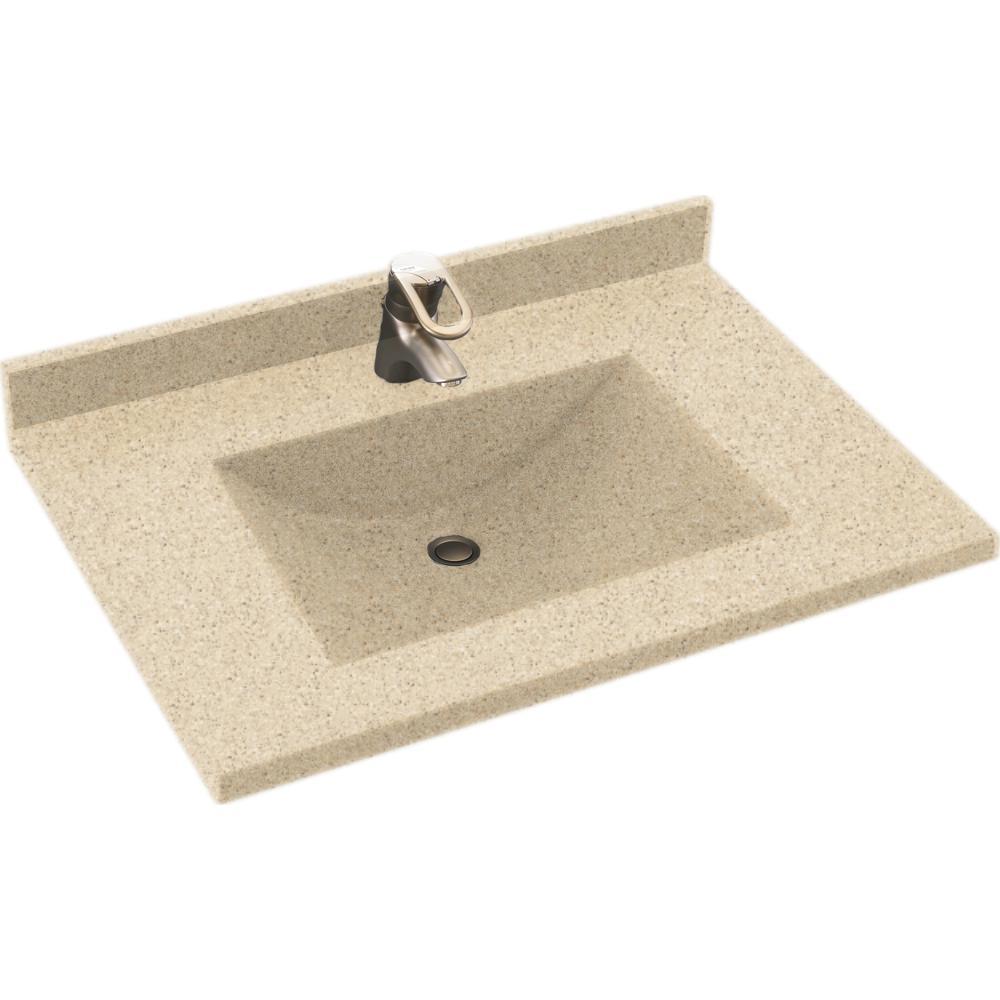 Freedomline 37 in. W x 22 in. D Solid Surface Pocket Vanity Top Kit with Sink in Bermuda Sand