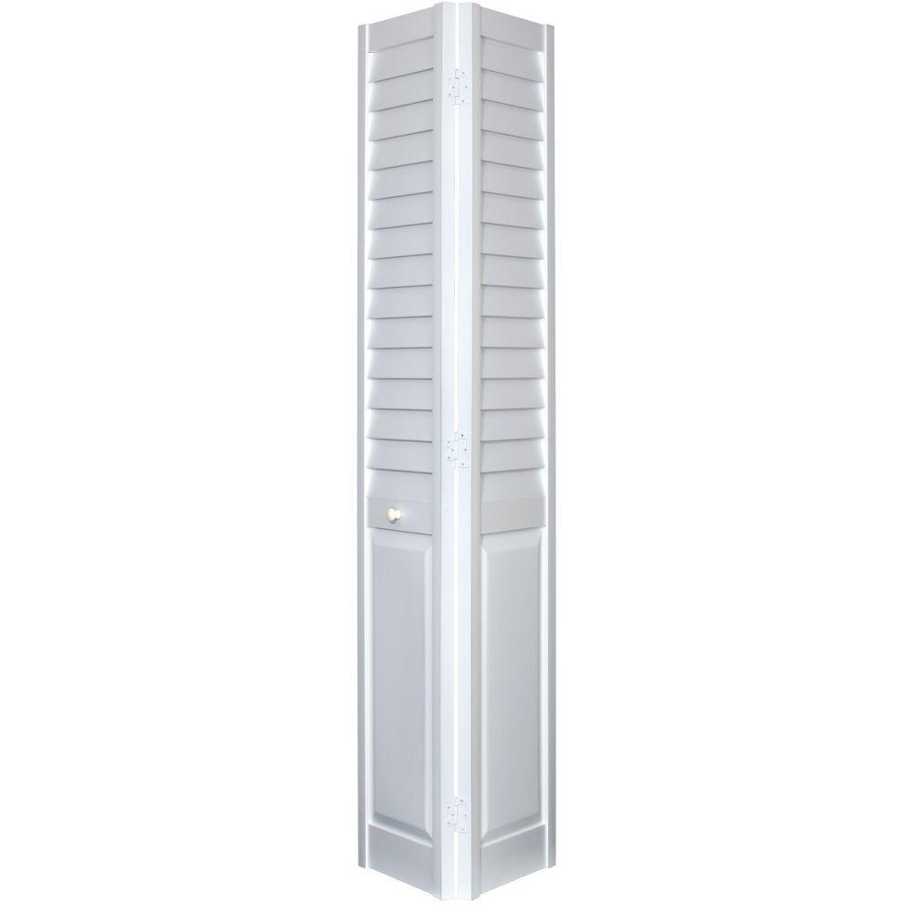 18 in. x 80 in. 3 in. Louver/Panel White PVC Composite Interior Closet Bi-Fold Door