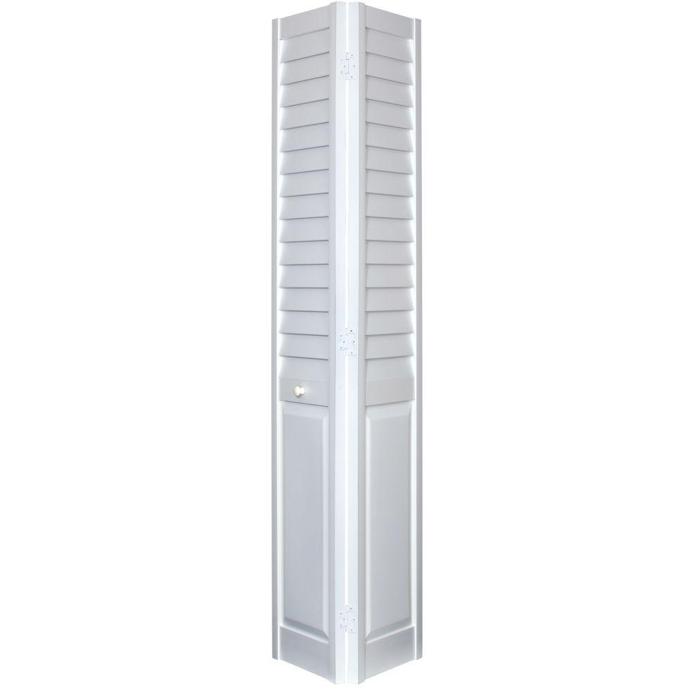 Home Fashion Technologies 24 In X 80 3 Louver Panel White Pvc Composite Interior Closet Bi Fold Door 7402480100 The Depot