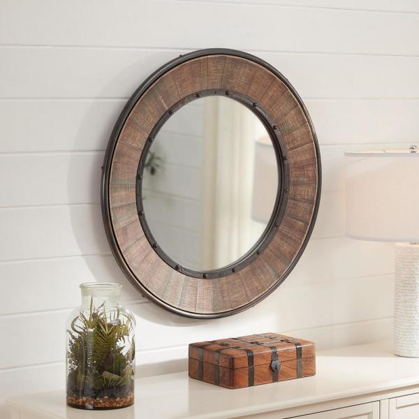 Home Decorators Collection Medium Round Farmhouse Accent Mirror With Wood Finish 31 In Diameter Schd41624 The Home Depot