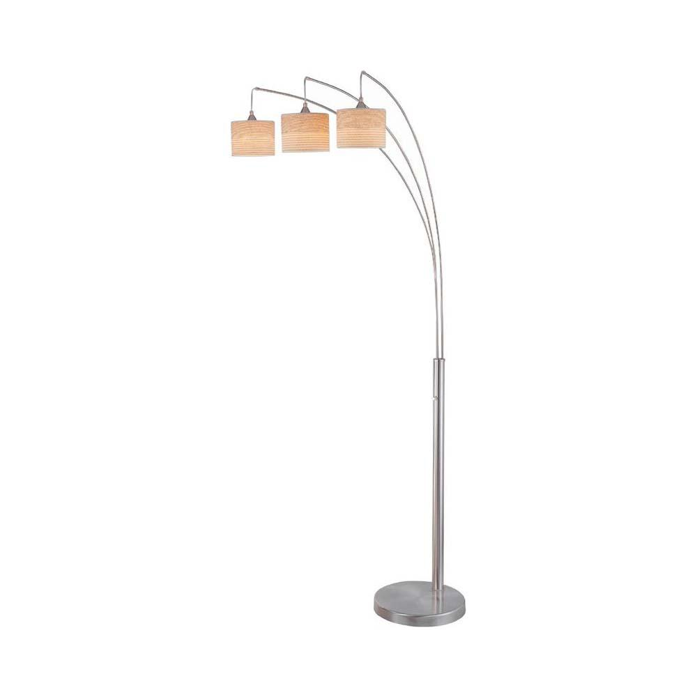 85 in. 3-Light Polished Steel Floor Lamp