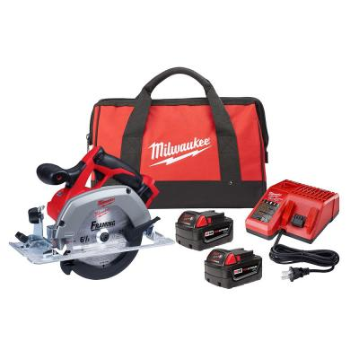 M18 18-Volt Lithium-Ion 6-1/2 in. Cordless Circular Saw Kit with Two 3.0 Ah Batteries, 24T Saw Blade, Charger, Tool Bag