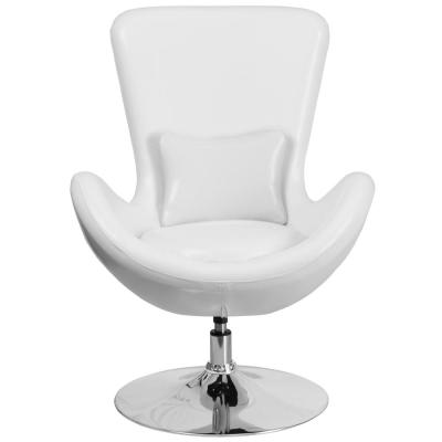 White Leather Egg Series Reception-Lounge-Side Chair