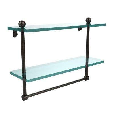16 in. L  x 12 in. H  x 5 in. W 2-Tier Clear Glass Bathroom Shelf with Towel Bar in Oil Rubbed Bronze