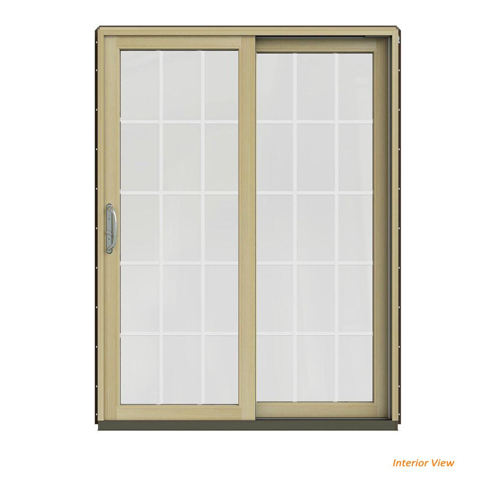 JELD-WEN 60 in. x 80 in. W-2500 Contemporary Brown Clad Wood Right-Hand 15 Lite Sliding Patio Door w/Unfinished Interior