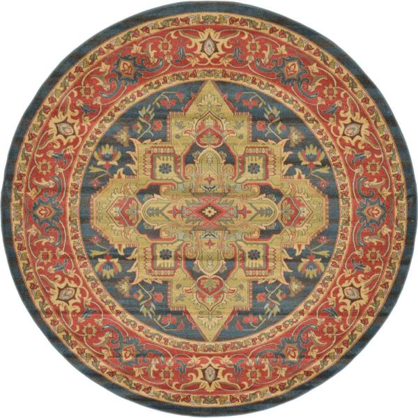 Sahand Arsaces Navy Blue 8' 0 x 8' 0 Round Rug