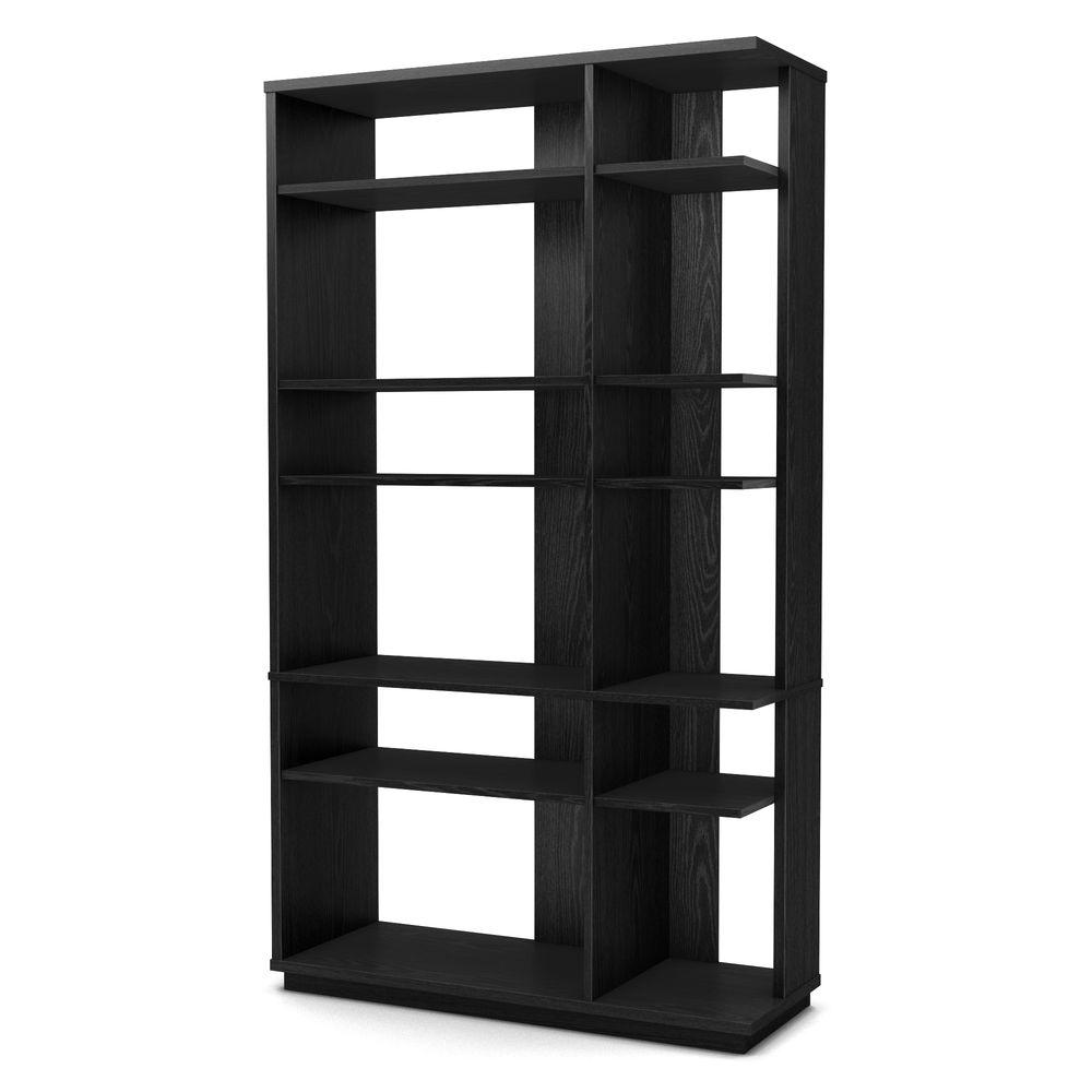 South Shore Equi 12-Shelf Bookcase in Black Oak