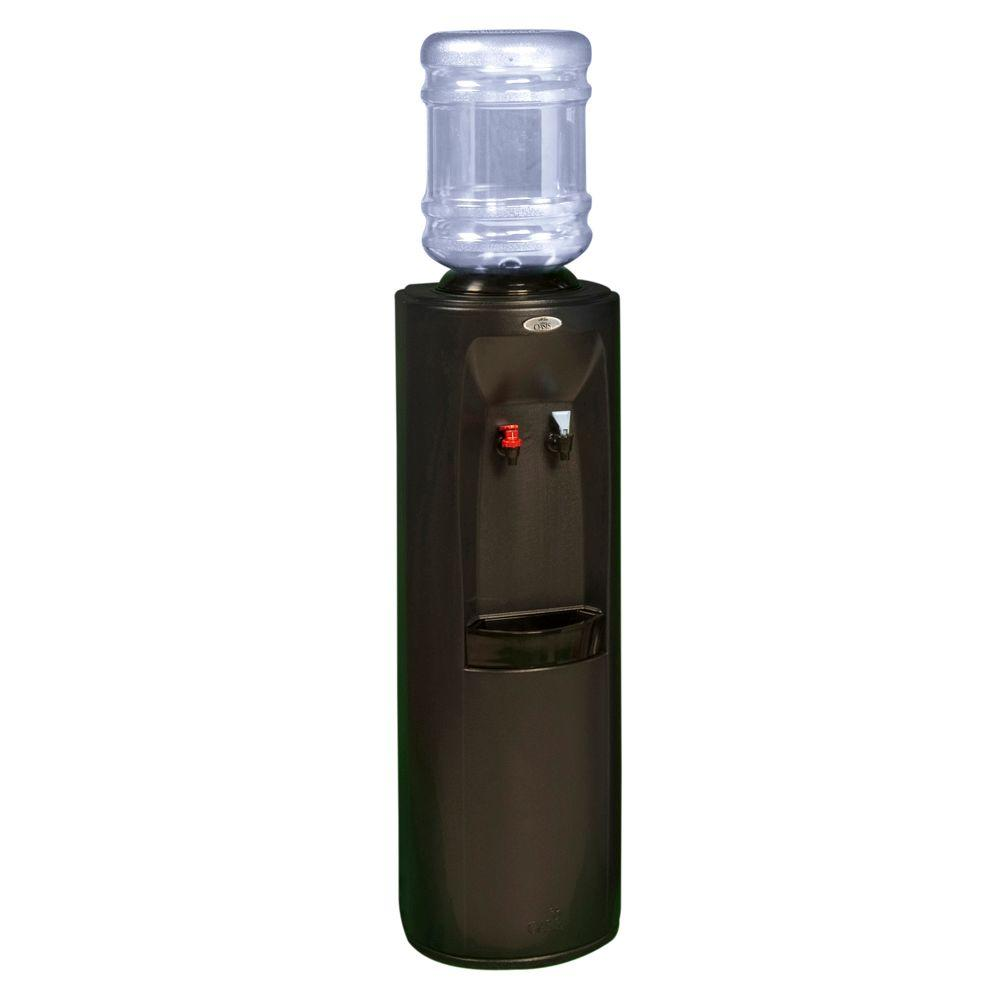 Oasis Atlantis Hot and Cold Dual Temp Cooler Dispenser with One-Piece Hot Tank in Black-DISCONTINUED