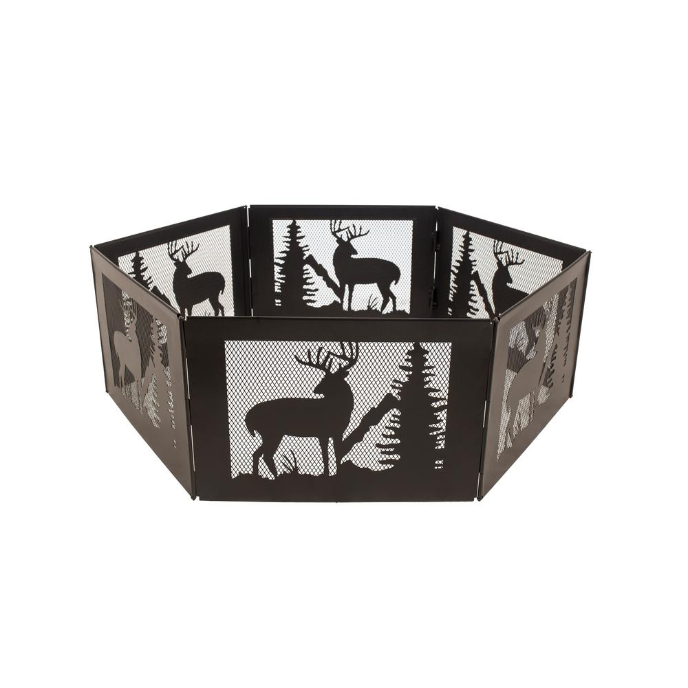 Pleasant Hearth Deer Mountain Portable Folding 36 in. x 12 in. Hexagon Steel Wood Burning Fire Pit with Carrying Case